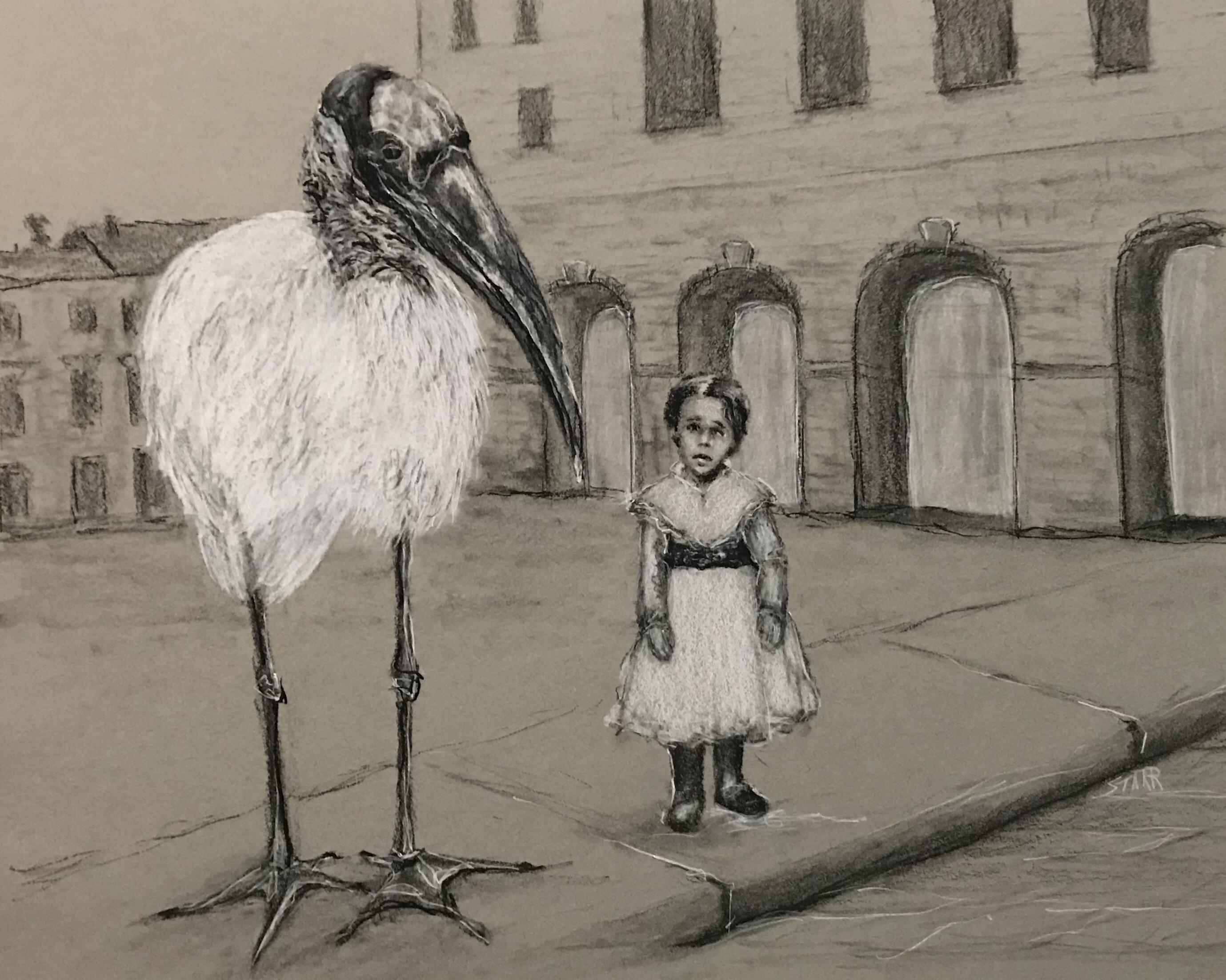 girl with big bird by suzanne starr