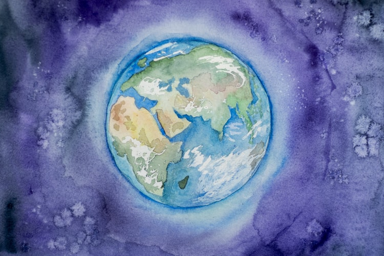 Planet Earth watercolour painting by Elena Mozhvilo@miracleday Unsplash