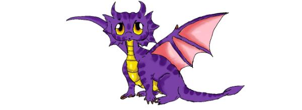 A small cute purple dragon