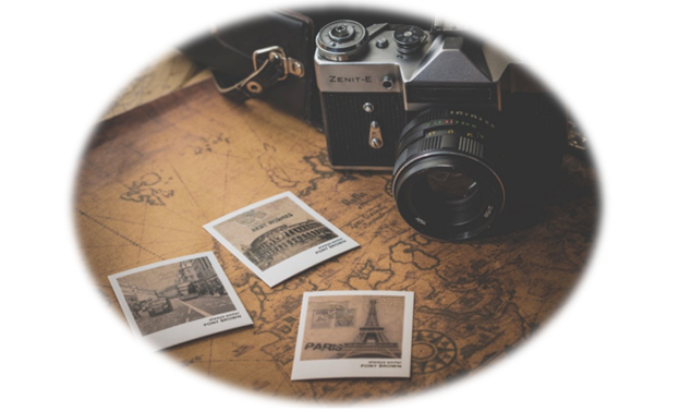 The image shows an old-fashioned camera resting on a faded map. There are three photos in sepia print next to the camera