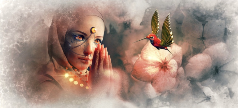 For visually challenged reader, the image shows a woman holding her hands in supplication. In front of her a hummingbird is hovering in air. There are flowers in the background.