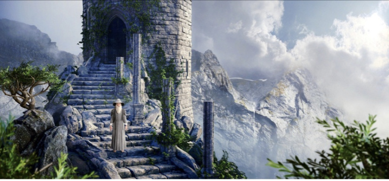 The image shows an old bearded man standing on a stone staircase that is leading to a tower. In the background you can see mountains enshrouded in clouds.