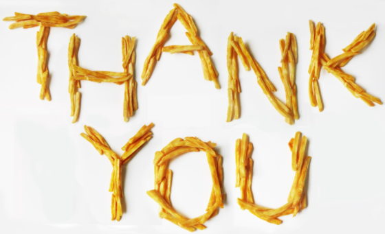 Thank you written in chips